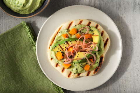 Grilled Flatbread with Herbed California Avocado Hummus, Carrots and Pickled Shallots by Chef Caroline Glover of Annette (Photo: Business Wire)