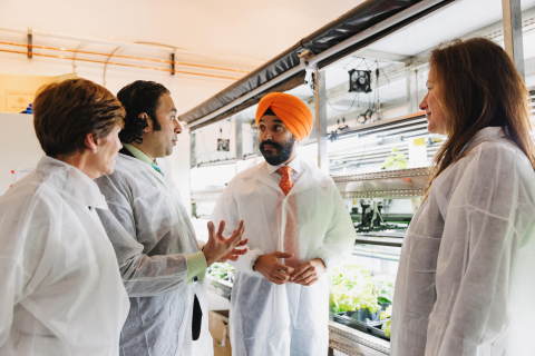 Pictured from left to right: Sue Paish, CEO Canada's Digital Technology Supercluster; Karn Manhas, Founder & CEO Terramera; the Honourable Navdeep Bains, Canadian Minister of Innovation, Science and Industry and Annett Rozek, Chief Scientific Officer Terramera at Terramera's lab in Vancouver. (Photo: Business Wire)