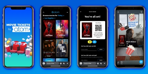 With the launch of the Atom Mini, called Movie Tickets by Atom, millions of highly engaged Snapchatters will be able to watch movie trailers, buy movie tickets and share movie plans with friends all without leaving the Snapchat app. The Atom mini will be available this summer. (Photo: Business Wire)