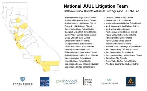 California School Districts with Suits Filed Against JUUL Labs, Inc. (Graphic: Business Wire)