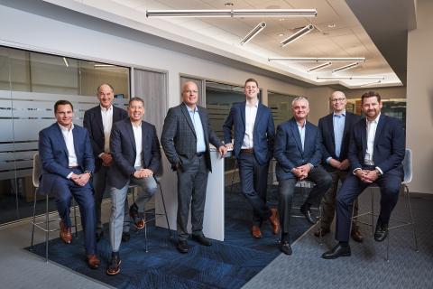 The eight partners of Octavia Wealth Advisors (from left to right) Andrew Seni, Mark Bodnar, Luis Strohmeier, Donald Hughett, Justin Setzekorn, Maxim Meyers, Marc Wagner, and Michael Ingram. (Photo: Business Wire)