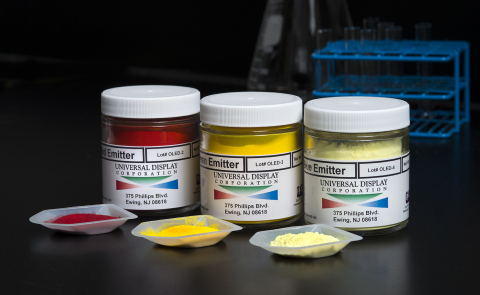 Universal Display Corporation's proprietary phosphorescent OLED emitter materials, exclusively made by PPG. (Photo: Business Wire)