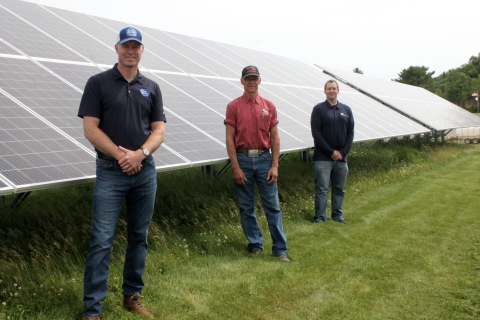 Eric Rygg, President at Silver Spring Foods, in front of new Solar Panel Installation, along with Farm Manager Ken Traaseth and Tim Dilley from Carlson Electric. (Photo: Business Wire)