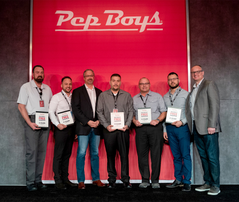 Pep Boys Service Managers were recognized for incident-free stores and safety practices. Pictured from left to right are Store Manager Brian Bird (Store 1698, The Villages, Fla.), Store Manager Victor Ruiz (Store 1518, Union Park, Fla.), Chief Legal and Administrative Officer Matt Flannery, Store Manager Josue Diaz (Store 927, Puerto Rico – Rio Grande), Store Manager David Maxwell (Store 1437, Leesburg, Fla. – Radio Road), Store Manager Ramiro Hernandez (Store 726, Dallas, Texas – Buckner), and CEO of Service Brian Kaner. (Photo: Business Wire)
