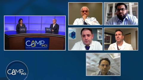 Members of CAMP PCI's faculty take questions from physician participants during the first virtual training on June 5, 2020, broadcast live from Abiomed's Heart Recovery Institute. (Photo: Business Wire)