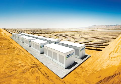 Artist's rendering of an 8minute solar-plus-stroage project (Graphic: Business Wire)