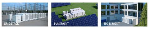 Fluence's three purpose-built energy storage systems (Photo: Fluence)