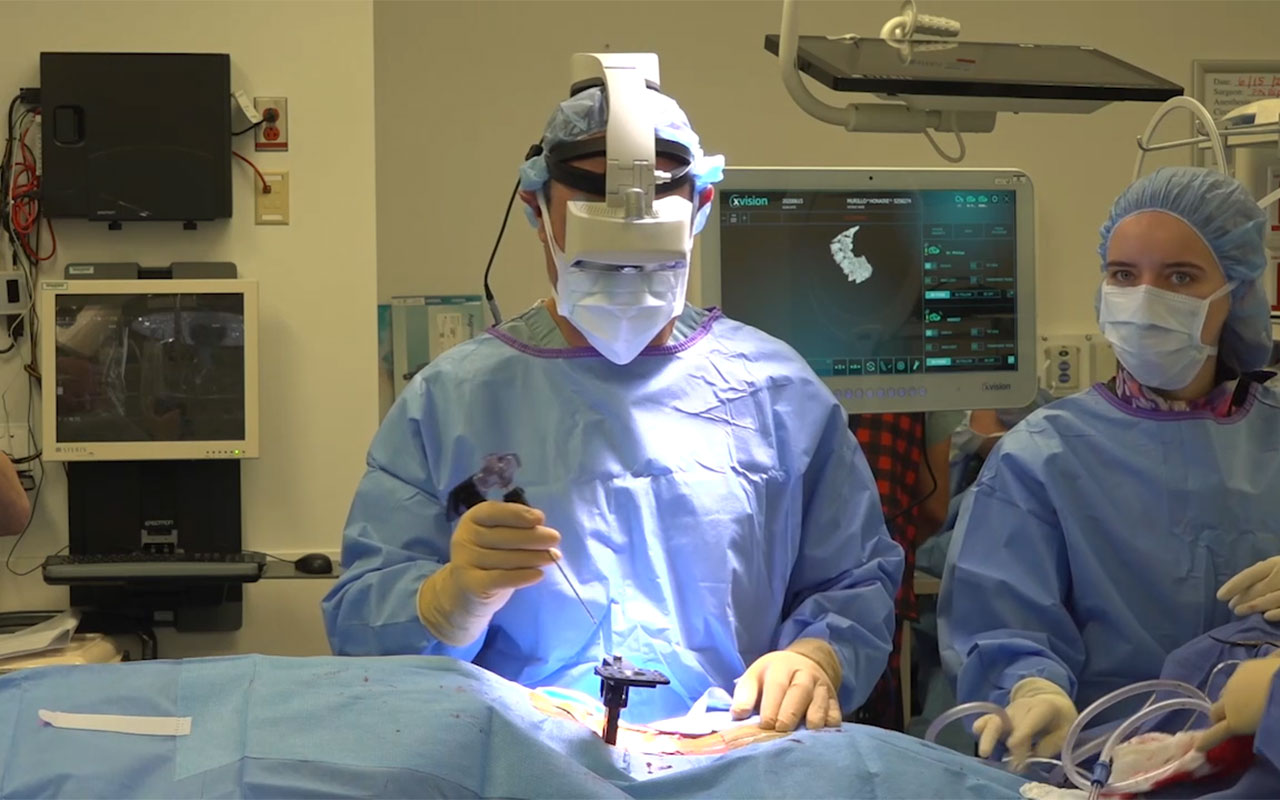 The world's first minimally invasive spine surgery using the FDA-approved Augmedics xvision Spine System was conducted by Dr. Frank M. Phillips of Midwest Orthopaedics at Rush