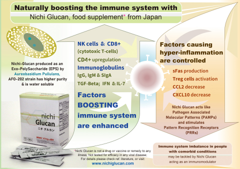 Mechanisms of immune balancing potentials by Nichi Glucan from Japan, that make it worth a clinical study in Covid-19 (Graphic: Business Wire)