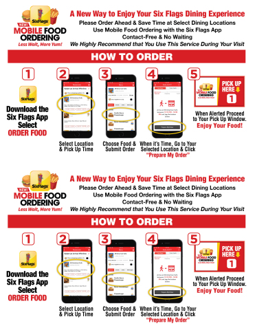 Six Flags introduces Mobile Food Ordering, a convenient, contact-free way to enjoy your favorite theme park foods. (Graphic: Business Wire)