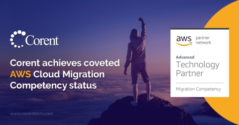 2020 Corent Technology, a technology leader in automated Cloud migration, modernization, and management - has achieved the coveted Amazon Web Services (AWS) Migration Competency status. (Graphic: Business Wire)