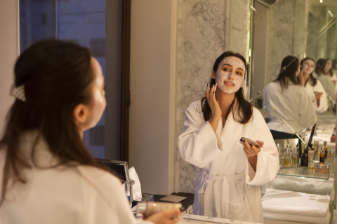 A guest at the Park Hyatt Moscow enjoys a private in-suite facial treatment. Under enhanced care and cleanliness standards, Hyatt offers guests the ability to enjoy wellness experiences from the comfort of their room. CREDIT: AP