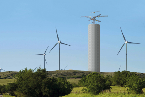 Energy Vault Tower in wind farm. ©Energy Vault All Rights Reserved. (Photo: Business Wire)