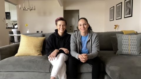 "Symetra has tapped sports superstars Megan Rapinoe (l) and Sue Bird (r) for a new national advertising campaign set to debut during Sunday's primetime broadcast of the 2020 ESPY Awards on ESPN, which Bird and Rapinoe will co-host with Seattle Seahawks QB Russell Wilson. ""Sue and Megan at Home"" acknowledges how everyone has adjusted course over the past three months — even professional athletes. The duo dives into how their plans for 2020 shifted, while also considering their future. Tagline: ""You can't predict the future, but with Symetra Life Insurance Company, you can prepare for it."" (Photo: Copacino Fujikado, Seattle)"
