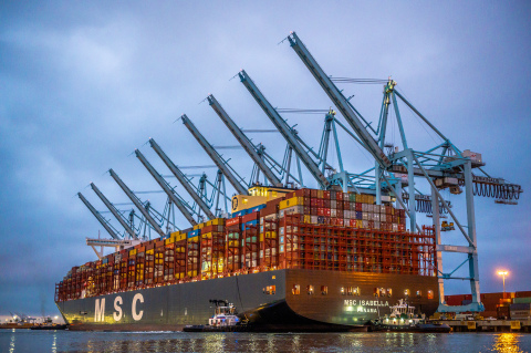 The MSC Isabella at APM Terminals, Port of Los Angeles.   (Photo: Business Wire)