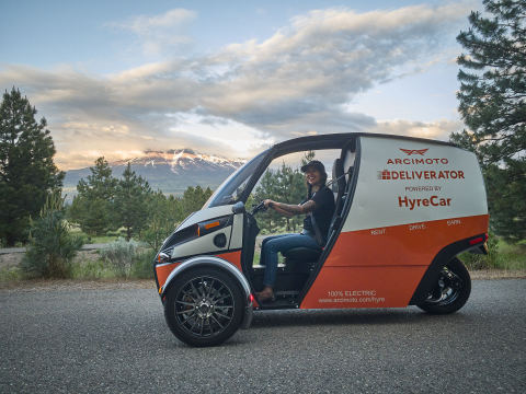 Arcimoto Begins Renting Pure Electric Deliverator in Los Angeles Using HyreCar (Photo: Business Wire)