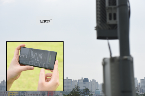 Samsung's new automated solution for measuring antenna configurations in 5G and 4G networks helps improve the efficiency and safety of site maintenance. Pictured here, a mobile device and camera-equipped drone capture photos of installed antennas, and quickly provide results. (Photo: Business Wire)