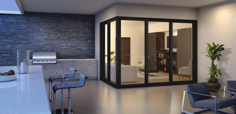 PGT Custom Windows + Doors energy-efficient, vinyl 90-degree sliding glass door featuring Modern Edge. (Photo: Business Wire)