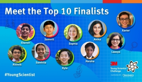 This year's finalists, four girls and six boys ranging in age from 12-14, identified an everyday problem they're passionate about and submitted a one- to two-minute video communicating the science behind their solution to solve the problem. (Photo credit: 3M)