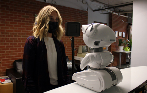 Misty II Robot Taking Visitors Temperature (Photo: Business Wire)