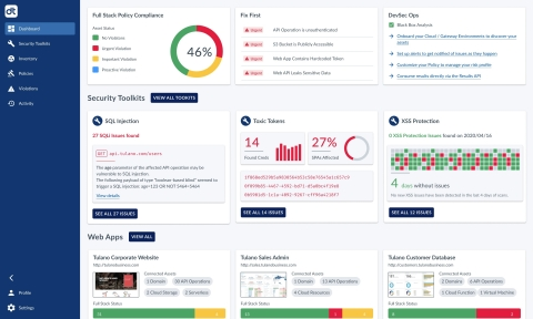 Unique to the Data Theorem platform, the Web Secure dashboard shows full-stack security analysis of Web Apps and automated hacking capabilities delivered with Data Theorem's Security Toolkits. (Graphic: Business Wire)