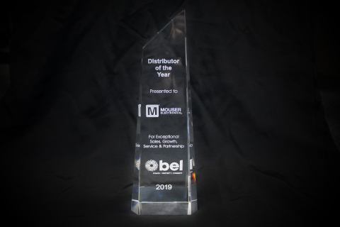 Mouser Electronics has been named Global Distributor of the Year for 2019 by Bel Fuse Inc. Bel cited Mouser's overall POS revenue growth, customer growth, NPI engagement, and marketing programs. (Photo: Business Wire)