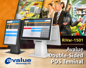 Avalue dual-display AIO POS touchscreen terminal RiVar (Photo: Business Wire)