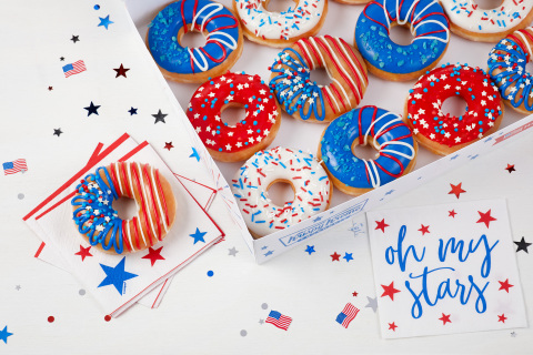 Four star-spangled themed doughnuts and limited-edition Patriotic Dozens Box available starting Thursday, June 25 (Photo: Business Wire)