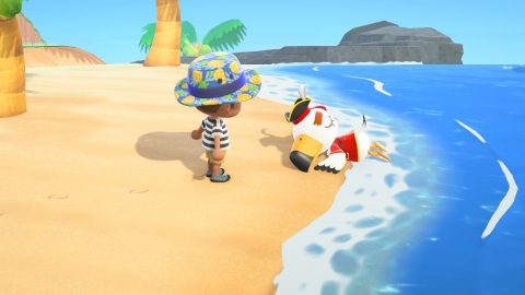 In Animal Crossing: New Horizons, a familiar character will occasionally wash up on shore, but sporting slightly different, pirate-like clothing. (Photo: Business Wire)