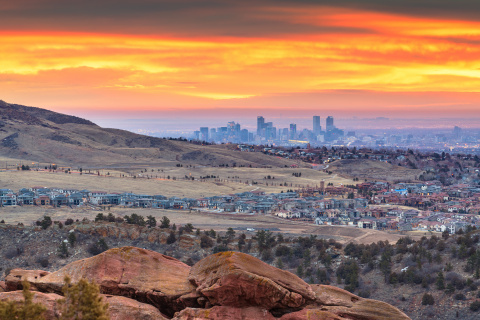 View of downtown Denver from the Red Rocks Amphitheater, where Dr. David Mayer, Patient Safety Movement Foundation CEO, will begin a 24 mile trek to Coors Field early Sunday morning as part of Dave's Virtual Walk Across America for Healthcare Safety. (Photo: Business Wire)