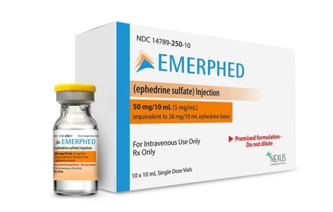 Emerphed (ephedrine sulfate) RTU injection vial and carton (Photo: Business Wire).