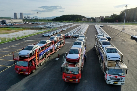Delivery of Xpeng P7 starts today at Zhaoqing Xpeng Motors Intelligent Industrial Park (Photo: Business Wire)