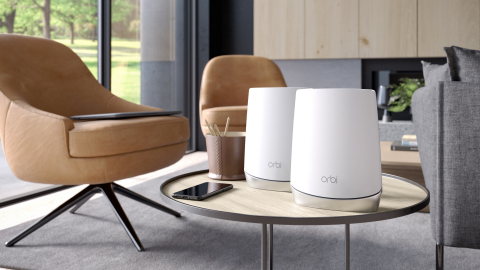 Orbi Tri-band Mesh WiFi provides a network of wireless router and satellites with a dedicated data connection from router to satellite ensuring the best performance and reach throughout an entire home. (Photo: Business Wire)