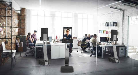 The new GoBe Robots telepresence robot is a remote-controlled mobile robot that allows communication through a 21.5-inch screen that reproduces the user's face in natural size. A zoomable 4K camera and a wide-angle front camera give the