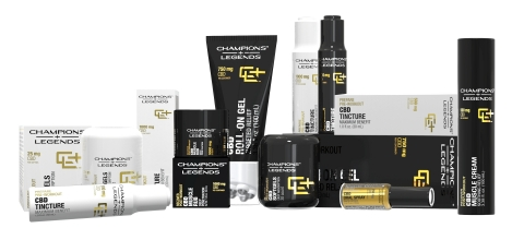 Champions + Legends CBD based sports supplements for athletic preparation, performance, & recovery are available for preorder on www.championsandlegends.com. (Photo: Business Wire)