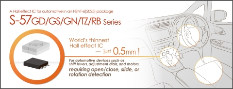 ABLIC's Automotive Hall Effect IC Lineup, S-57GD/GS/GN/TZ/RB Series (Graphic: Business Wire)