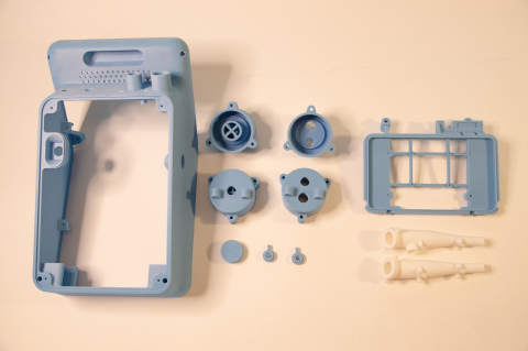 InVent Pneumatic Ventilator prototype parts from a Stratasys J850 3D printer. (Photo: Business Wire)