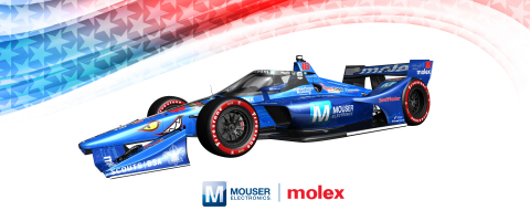 In the second race of the 2020 IndyCar season, the Mouser Electronics-sponsored No. 18 car will show off a special Mouser Blue livery at the GMR Grand Prix in Indianapolis on July 4. (Photo: Business Wire)