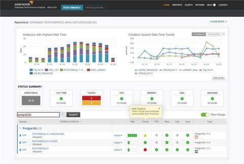 SolarWinds Database Performance Analyzer adds database coverage for PostgreSQL, including support for AWS, Azure, and on-premises environments, allowing DBAs to quickly pinpoint DBaaS and PaaS problems. (Graphic: Business Wire)