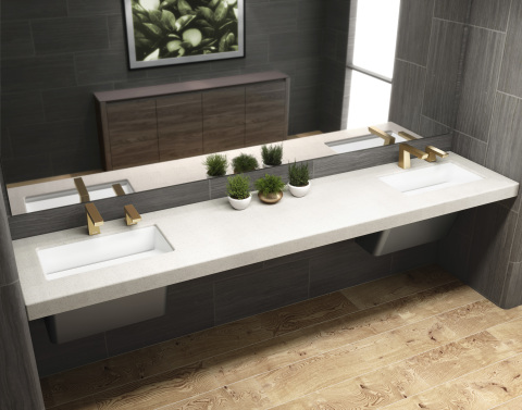 New washbasin designs with increased space between the hand washing areas allow for social distancing. (Photo: Business Wire)
