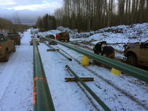 Construction of Rangeland Midstream Canada's Marten Hills Pipeline System began in October 2019. Photo courtesy of Rangeland Energy.