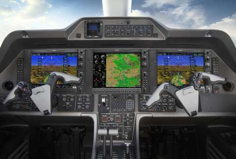 G1000 NXi integrated flight deck in the Phenom 300 business jet. (Photo: Business Wire)