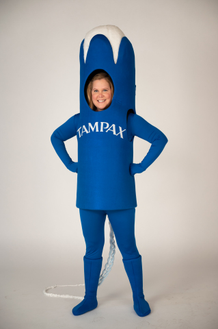 Yep, we made Amy Schumer the first ever Tampax Suit. No shame in our Tampax game. Head to Snapchat if you want to put yourself in the suit with Amy! (Photo: Business Wire)