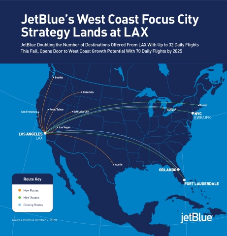 JetBlue announced it will make Los Angeles International Airport (LAX) its primary base of operations in greater Los Angeles, advancing its focus city strategy and building relevance for the airline in one of the busiest markets in the world. (Graphic: Business Wire)