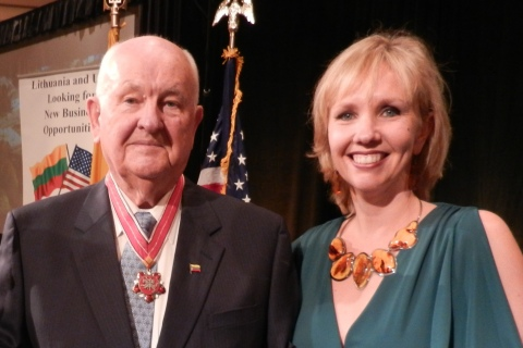 Albinas Markevicius and his daughter, Zina Markevicius, during a 2013 ceremony receiving the Medal of Diplomacy from the Lithuanian Embassy in Washington, D.C. (Photo: Business Wire)