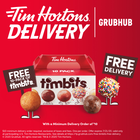 Tim Hortons® U.S. Partners with Grubhub for Delivery in Select Markets (Graphic: Business Wire)