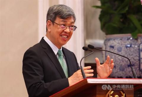 Then Vice President Chen Chien-jen speaks to the media at the Presidential Office Building on May 14, thanking the Taiwanese people for contributing to the success in the battle against the COVID-19, a few days before he left office. CNA photo May 14, 2020