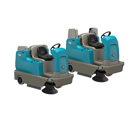 S16 Compact Battery Ride-On Sweeper shown in both high-dump and low-dump configurations (Photo: Business Wire)