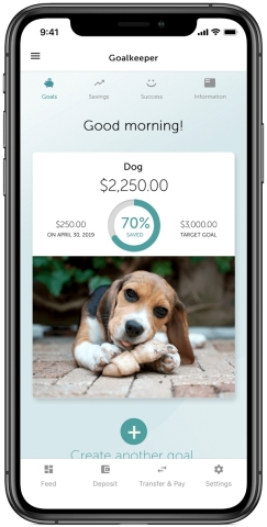 Whether you're saving for a rainy day fund, a down payment on a new home, or to pay off credit card debt, Goalkeeper can help. (Photo: Business Wire)