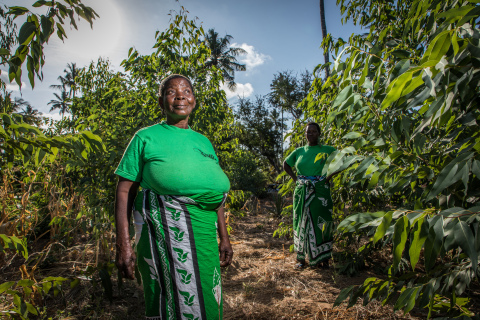 A Komaza farmer proudly shows her young trees in Ganze, Kenya. (Photo: Business Wire)